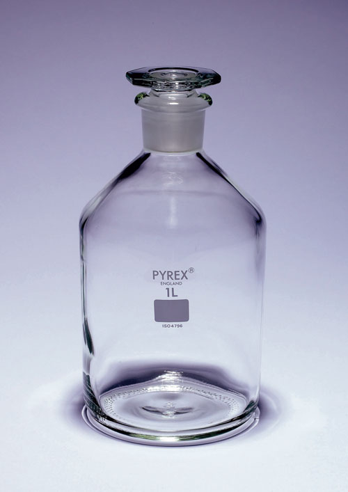 Glass reagent bottle 1L, narrow neck, with glass stopper