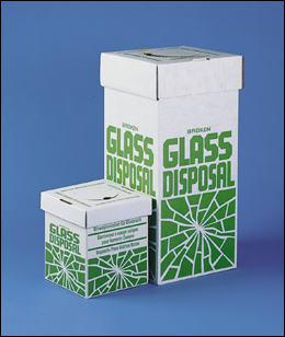 Broken glass disposal box (Benchtop model), size 20 x 20 x 25cm (p/6)
