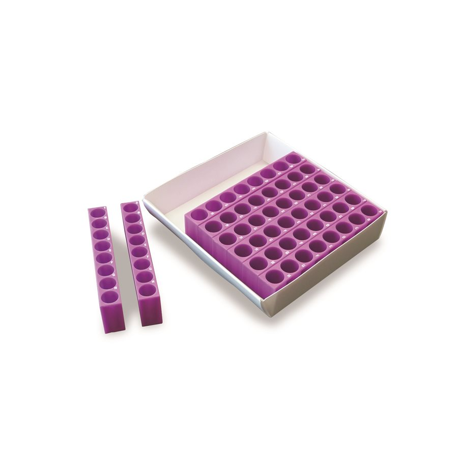 TRACRACK - Tube Rack and Cryo Storage Box (1.5-2.0ml) (64 Well) (Purple)