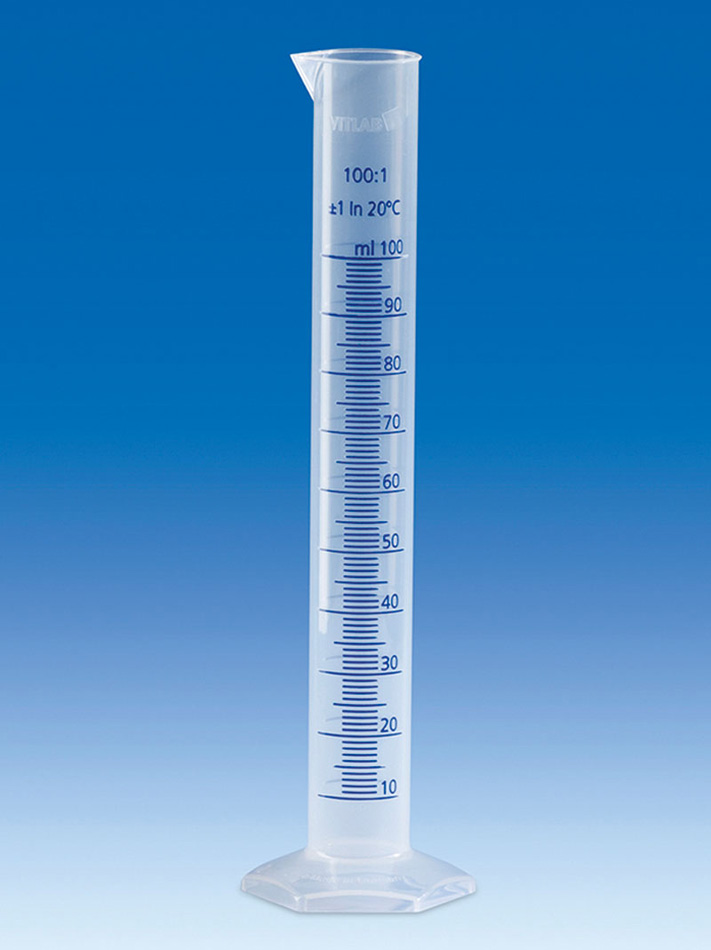 Plastic measuring cylinder 100ml, PP